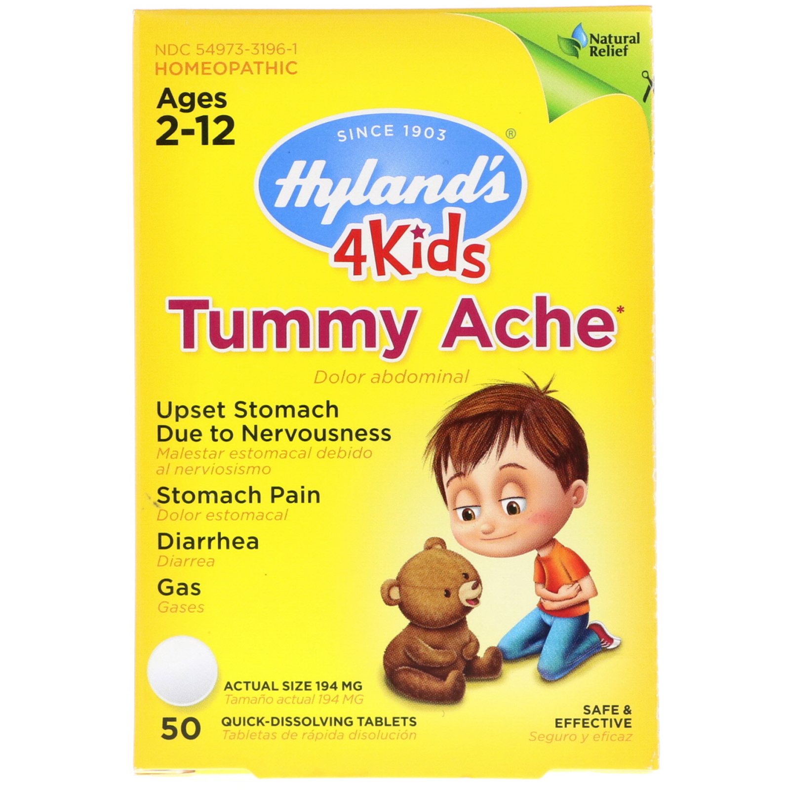 Hyland S 4kids Tummy Ache Ages 2 12 50 Quick Dissolving Tablets