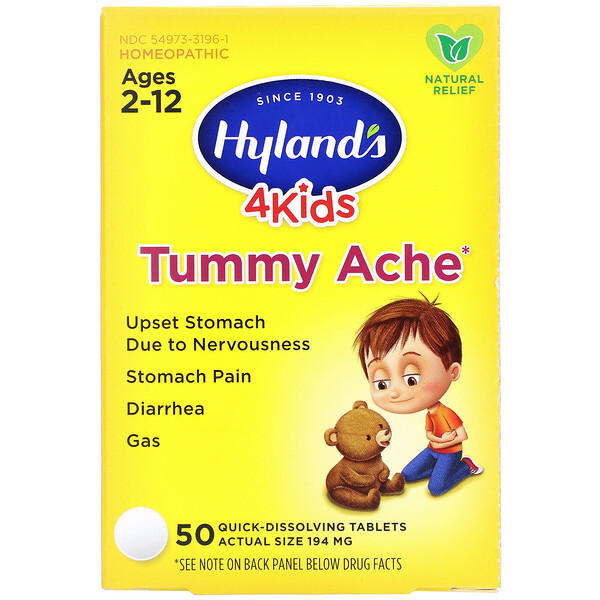 4Kids, Tummy Ache, Ages 2-12, 194 mg, 50 Quick-Dissolving Tablets