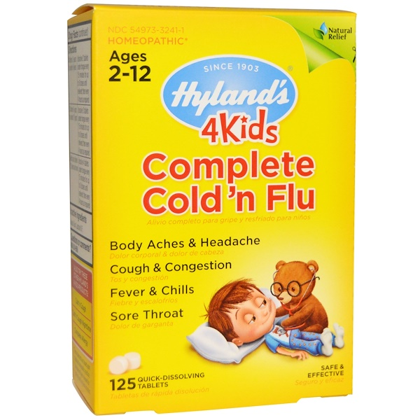 Hyland's, 4 Kids, Complete Cold 'n Flu, Ages 2-12, 125 Quick-Dissolving Tablets (Discontinued Item)