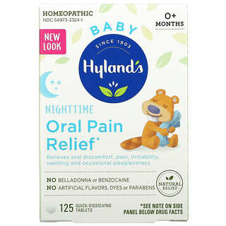 Hyland's, Baby, Nighttime Oral Pain Relief,  Ages 0+ Months, 125 Quick-Dissolving Tablets