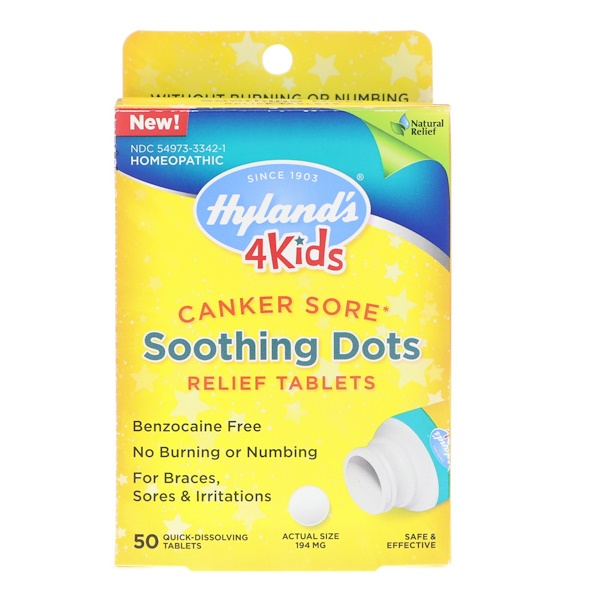 4 Kids, Canker Sore, Soothing Dots Relief Tablets, 50 Quick-Dissolving Tablets