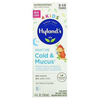 Hyland's, 4 Kids, Cold & Mucus, Nighttime, Ages 2-12, 4 fl oz (118 ml)