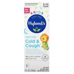 Hyland's, 4 Kids,着涼和咳嗽,夜間,2-12 歲,4 液量盎司(118 毫升)