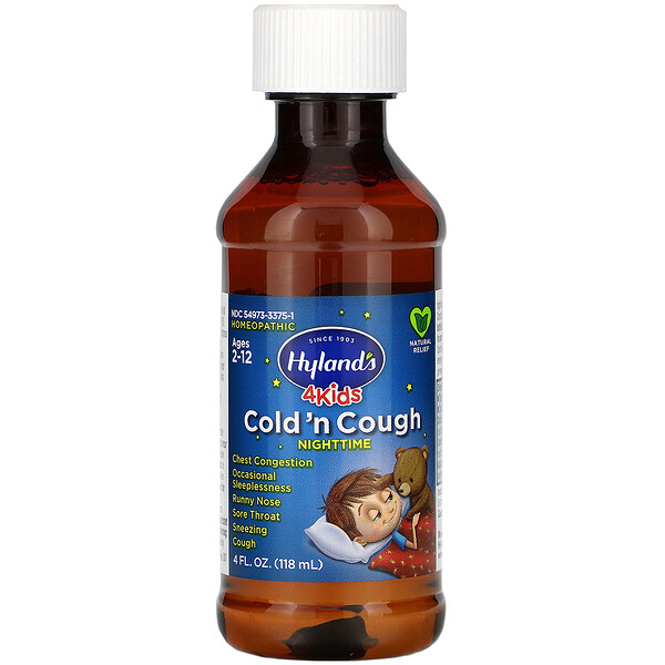 Hyland's, 4 Kids, Cold 'n Cough Nighttime, Ages 2-12,  4 fl oz (118 ml)