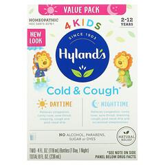 Hyland's, 4 Kids,著涼咳嗽,日夜超值套裝,2-12 歲,2 瓶,每瓶 4 液量盎司(118 毫升)