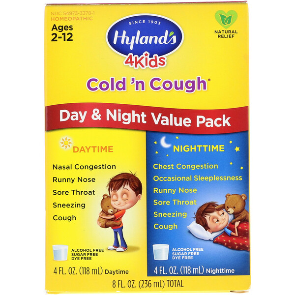 Hyland's, 4 Kids Cold 'n Cough Day & Night Value Pack, Age 2-12, 4 fl oz (118 ml) Each