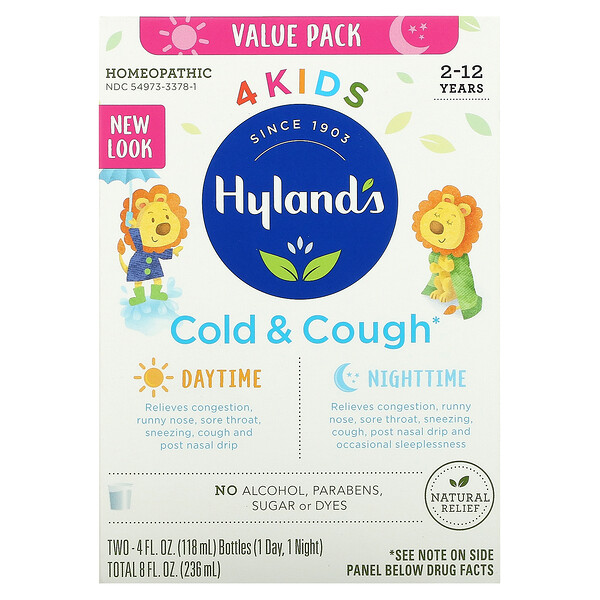 4 Kids, Cold & Cough, Daytime & Nighttime Value Pack, Age 2-12 Years, 2 Bottles, 4 fl oz (118 ml) Each