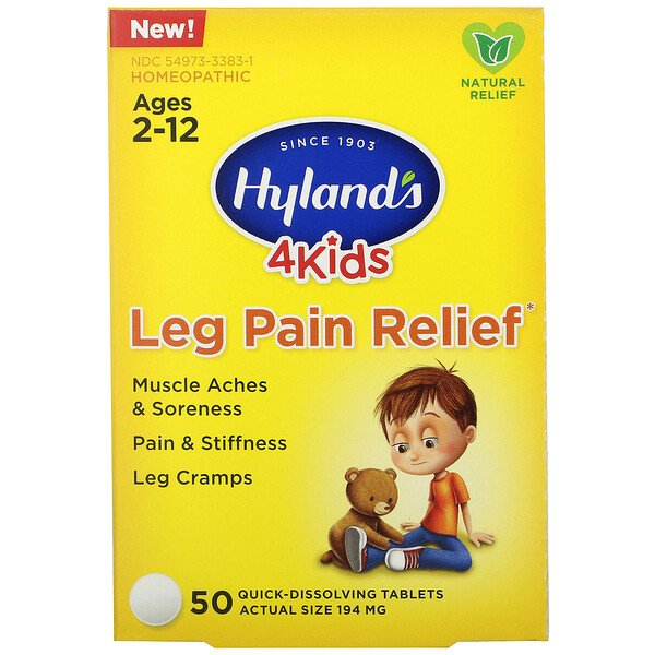 4 Kids, Leg Pain Relief, Ages 2-12, 50 Quick-Dissolving Tablets