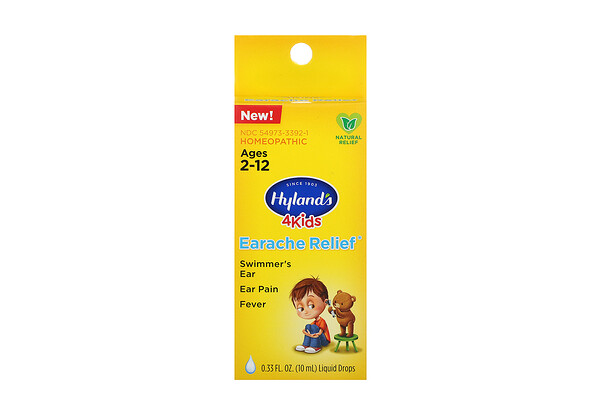 Hyland's, 4 Kids, Earache Relief Liquid Drops, Ages 2-12, 0.33 fl oz (10 ml)