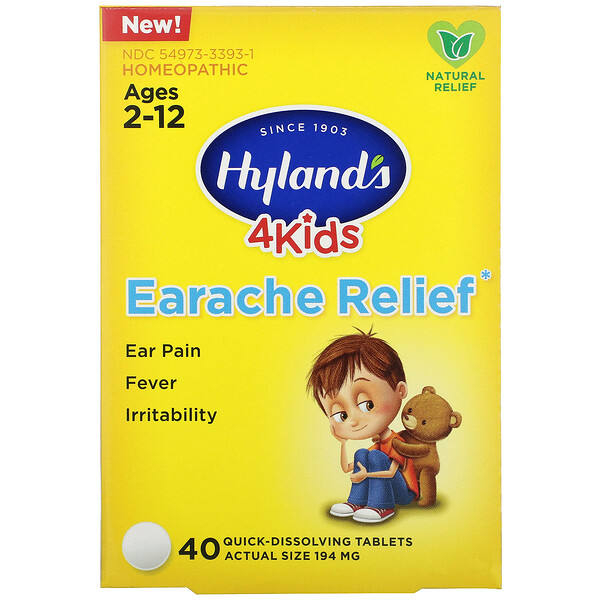 Hyland's, 4 Kids, Earache Relief, Ages 2-12, 40 Quick-Dissolving Tablets