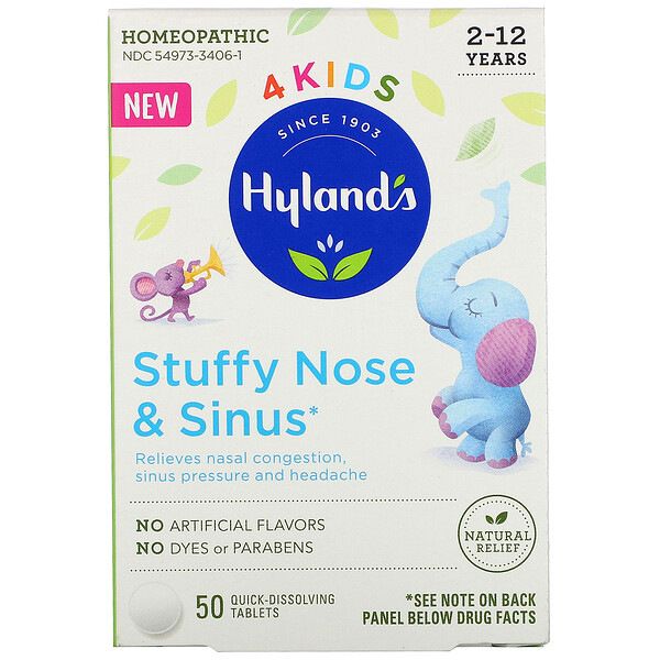 Hyland's,  4 Kids, Stuffy Nose and Sinus, 2-12 Years, 50 Quick-Dissolving Tablets