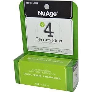 Хайлэндс, NuAge, No 4 Ferrum Phos, Iron Phosphate, 125 Tablets отзывы