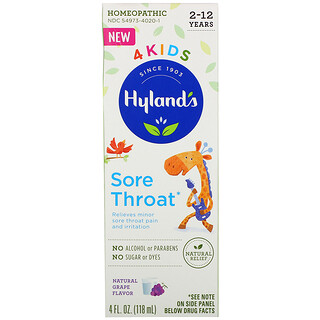 Hyland's, 4 Kids, Sore Throat, 2-12 Years, Natural Grape Flavor, 4 fl oz (118 ml)