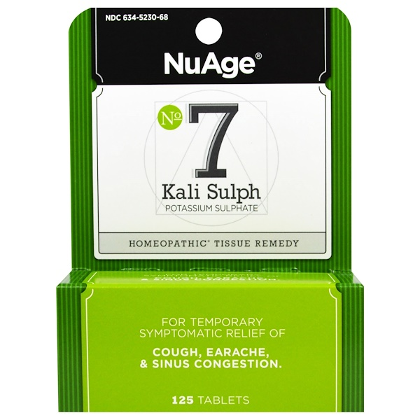 Hyland's, NuAge, No 7 Kali Sulph Potassium Sulfate, 125 Tablets (Discontinued Item)