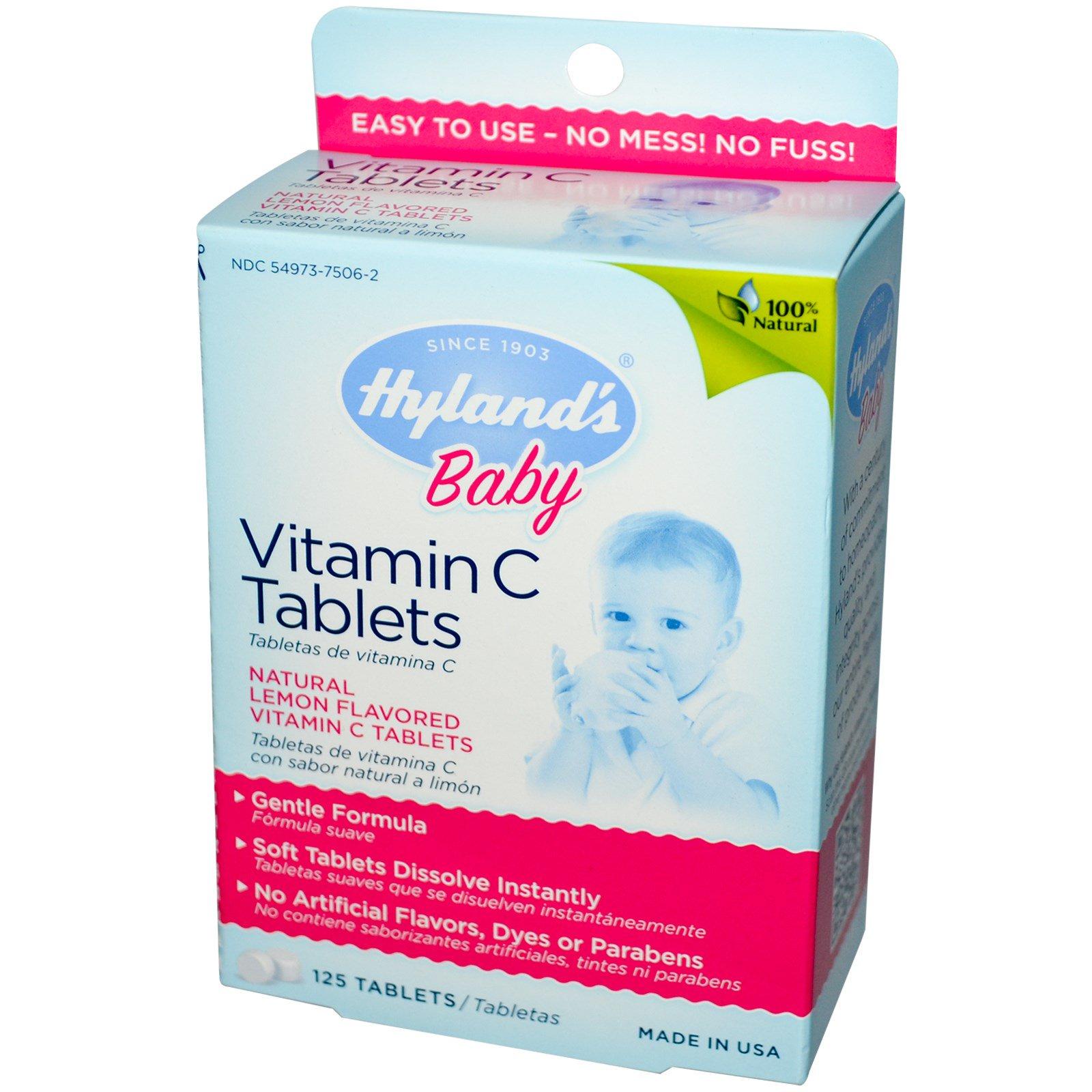 Hyland's, Таблетки с витамином С для детей, натуральный лимонный вкус, 125 таблеток