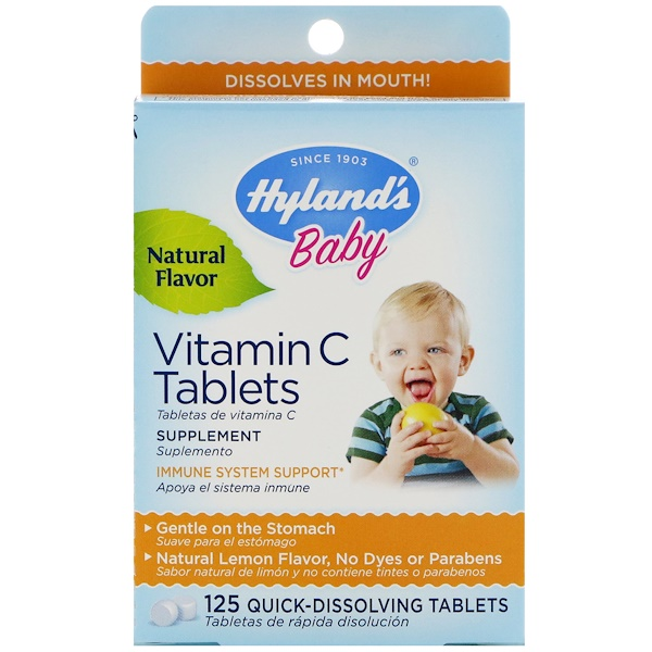 Hyland's, Baby, Vitamin C Tablets, Natural Lemon Flavor, 125 Quick-Dissolving Tablets (Discontinued Item)