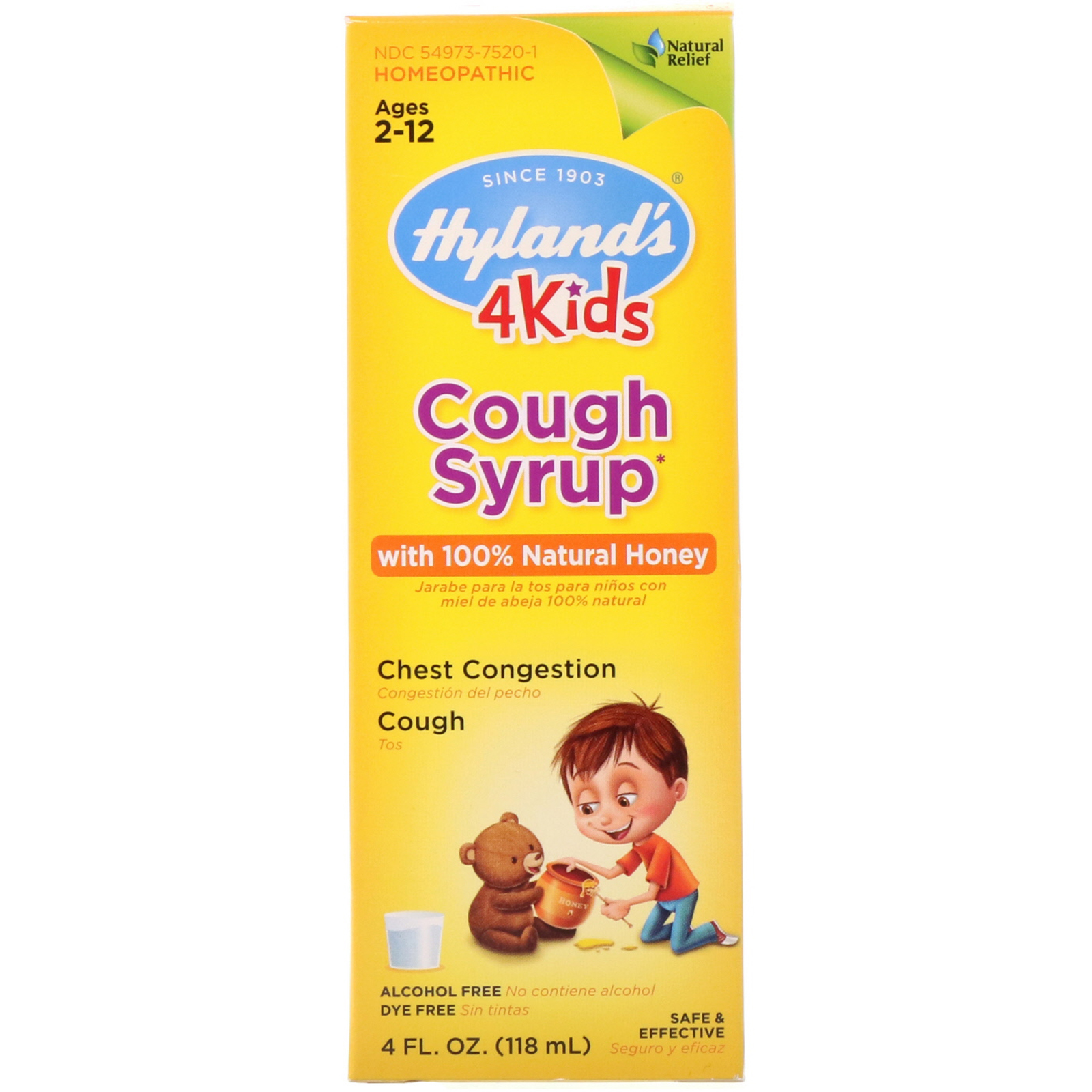 4 Kids, Cough Syrup with 100% Natural Honey, Ages 2-12, 4 ...