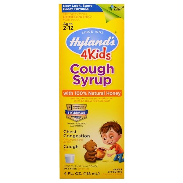 Hyland's, 兒童止咳糖漿,含100%純天然蜂蜜,4液盎司(118毫升)