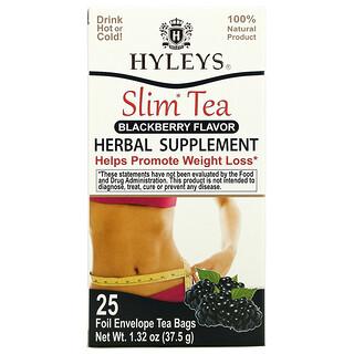 Hyleys Tea, Slim Tea, Blackberry , 25 Foil Envelope Tea Bags, 1.32 oz (37.5 g)