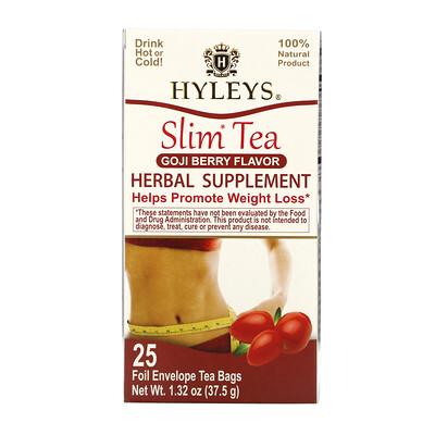 Купить Hyleys Tea Slim Tea, Goji Berry, 25 Foil Envelope Tea Bags, 1.32 oz (37.5 g)