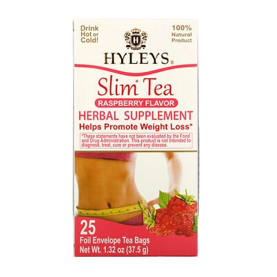 Купить HYLEYS Slim Tea, Raspberry Flavor, 25 Foil Envelope Tea Bags, 1.32 oz (37.5 g)