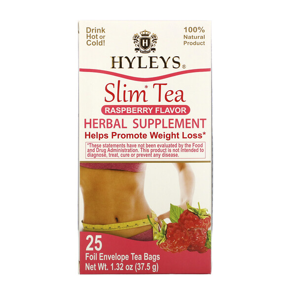 Slim Tea, Raspberry Flavor, 25 Foil Envelope Tea Bags, 1.32 oz (37.5 g)