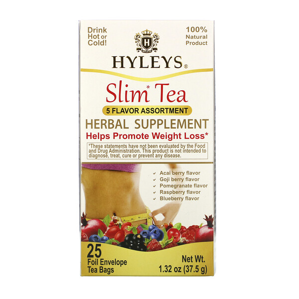 Slim Tea, 5 Flavor Assortment, 25 Foil Envelope Tea Bags, 1.32 oz (37.5 g)