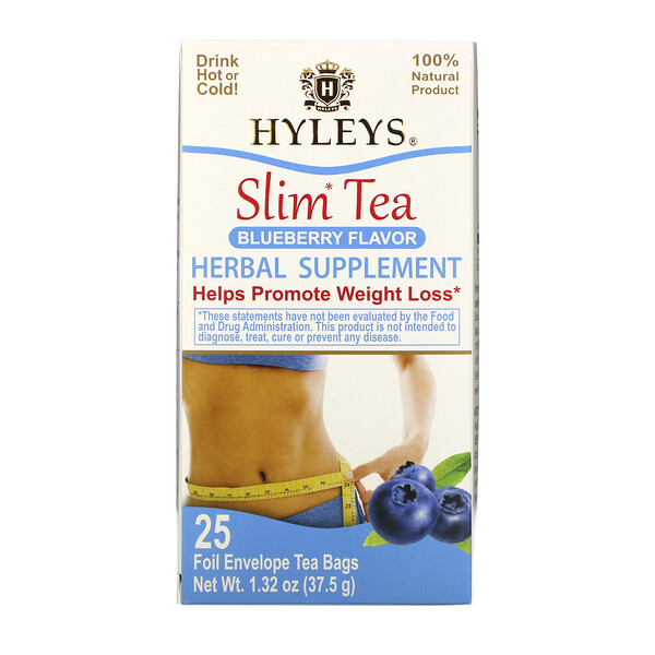 Hyleys Tea, Slim Tea, Blueberry Flavor, 25 Foil Envelope Tea Bags, 1.32 oz (37.5 g)