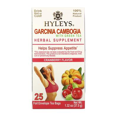 Купить Hyleys Tea Garcinia Cambogia with Green Tea, Cranberry, 25 Tea Bags, 1.32 oz (37.5 g)