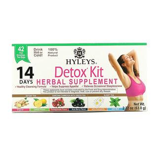 Hyleys Tea, Detox Kit, 14 Day Cleanse, Assorted Flavors, 42 Foil Envelope Tea Bags, 2.22 oz (63.0 g)