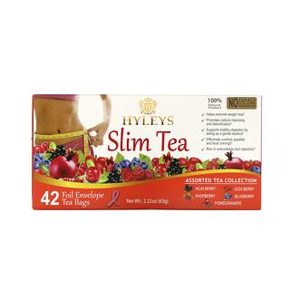 Hyleys Tea, Slim Tea, Assorted Tea Collections, 42 Foil Envelope Tea Bags, 0.05 oz (1.5 g) Each