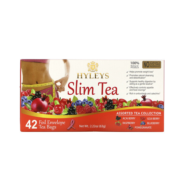 Hyleys Tea, Slim Tea, Assorted Tea Collections, 42 Foil Envelope Tea Bags, 0.05 oz (1.5 g) Each