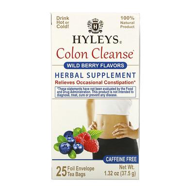 Купить Hyleys Tea Colon Cleanse, Wild Berry Flavors, Caffeine Free, 25 Tea Bags, 1.32 oz (37.5 g)