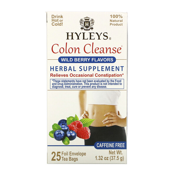 Hyleys Tea, Colon Cleanse, Wild Berry Flavors, Caffeine Free, 25 Tea Bags, 1.32 oz (37.5 g)