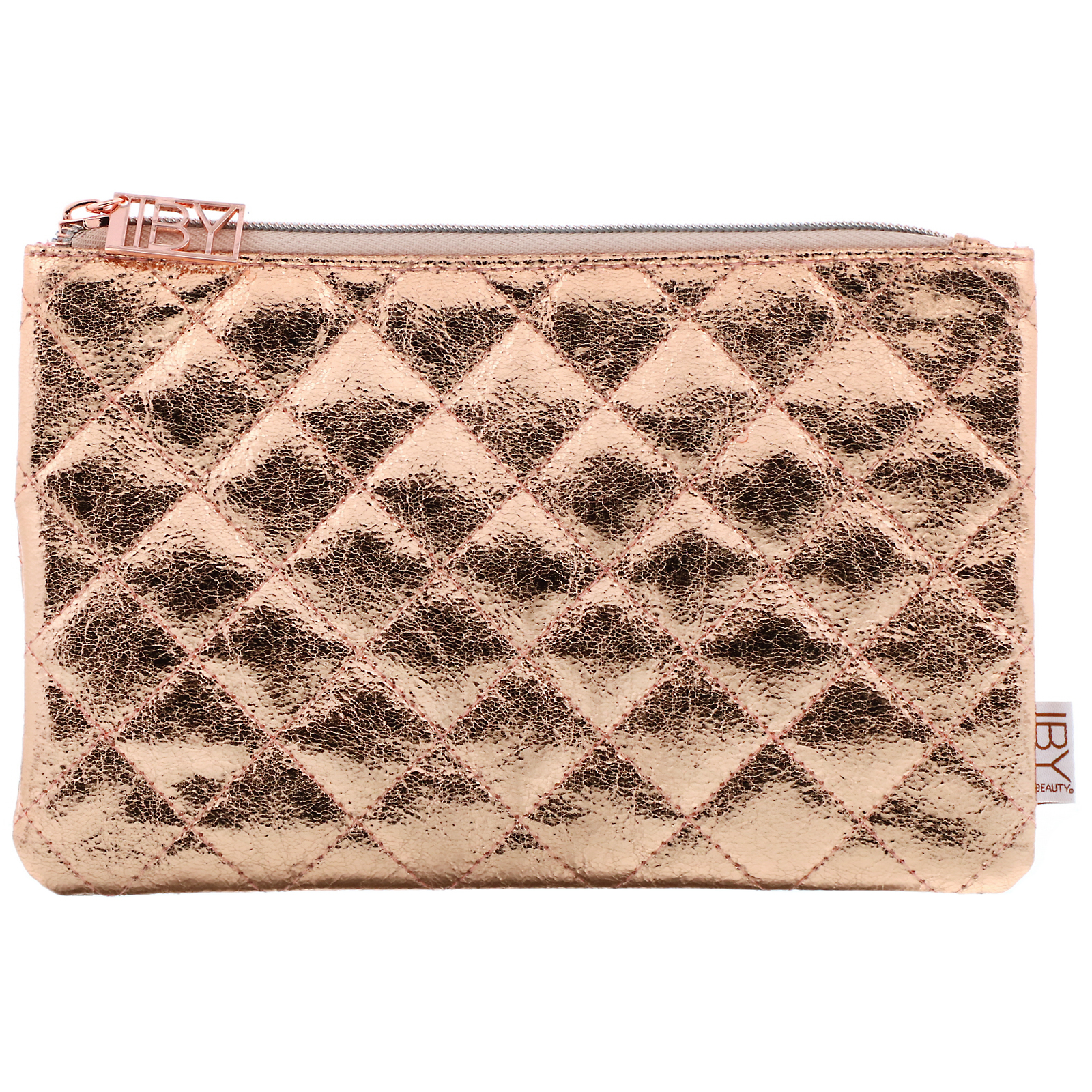 IBY Beauty, Rose Gold Quilted Makeup Bag, 1 Bag