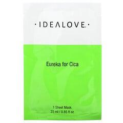 Idealove, Eureka for Cica, тканевая косметическая маска с экстрактом готу кола, 1шт., 25мл (0,85жидк.унции)