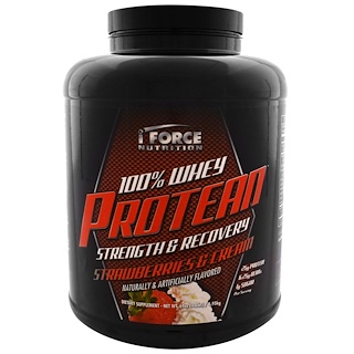 iForce Nutrition, 100% Whey Protean, Strawberries & Cream, 69 oz (1.95 kg)