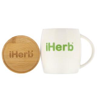 iHerb Goods, Ceramic Mug with Wood Lid, 1 Mug