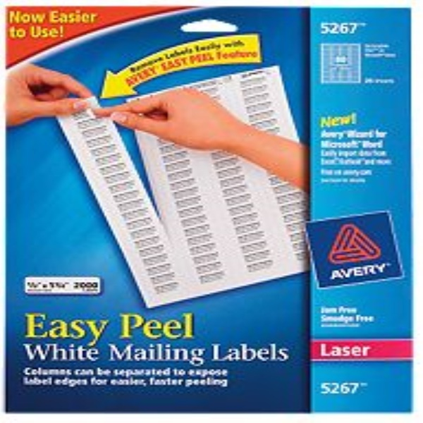 "iHerb Goods, Avery Easy Peel White Mailing Labels, 5267, 2000 Labels (1/2""x1 3/4"" Each) (Discontinued Item)"