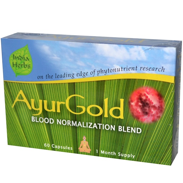 India Herbs, AyurGold for Healthy Blood Sugar, Normalization Blend, 60 Capsules (Discontinued Item)