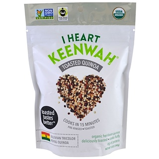 I Heart Keenwah, Toasted Quinoa, Bolivian Tricolor Royal Quinoa, 12 oz (340 g)