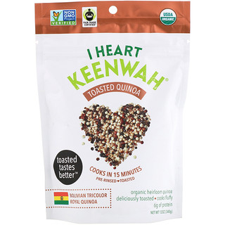 I Heart Keenwah, Toasted Quinoa, Bolivian Tricolor Royal Quinoa, 12 oz (340 g)