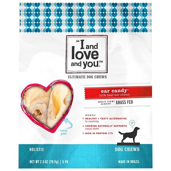 I and Love and You, Snacks masticables para perros, orejas golosinas, 5 paquetes, 2,5 onzas (70,9 g) (Discontinued Item)