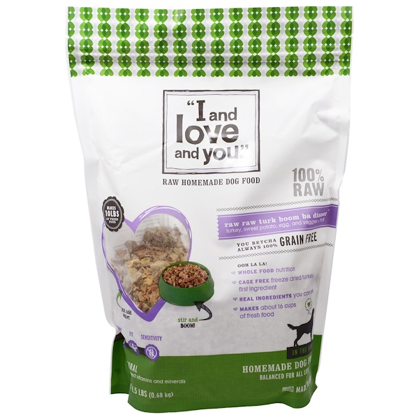 I and Love and You, Raw Homemade Dog Food, Raw Raw Turk Boom Ba Dinner, 1.5 lbs (0.68 kg) (Discontinued Item)