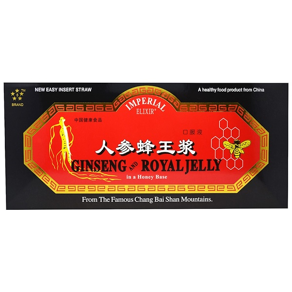 Imperial Elixir, Ginseng y jalea real, 10 botellas, 0.34 fl oz (10 ml) cada una