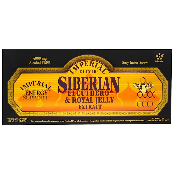Extracto de ginseng siberiano y jalea real, sin alcohol, 4000 mg, 10 frascos, 0.34 fl. Oz (10 ml) c/u