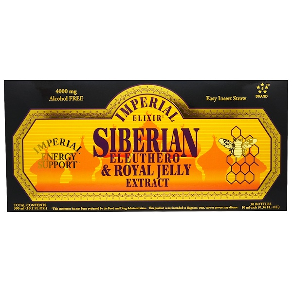 Imperial Elixir, Extracto de Eleuthero Siberiano y Jalea Real, Sin Alcohol, 4000 mg, 30 Botellas, 0.34 fl oz (10 ml) Cada Uno