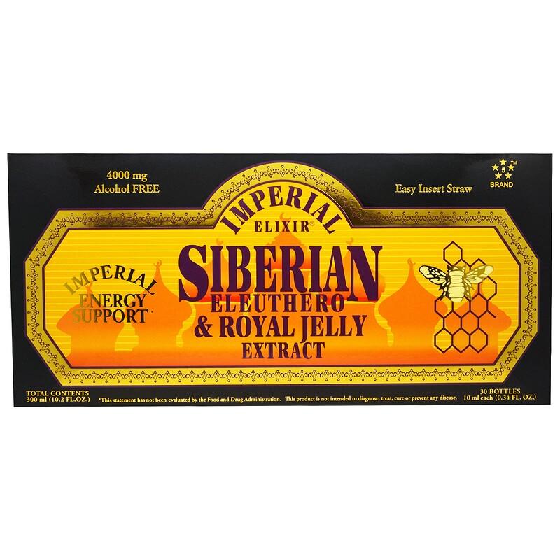 Imperial Elixir, 西伯利亞人參及蜂王漿提取物,不含酒精,4000毫克,30瓶,每瓶0.34液盎司(10毫升)