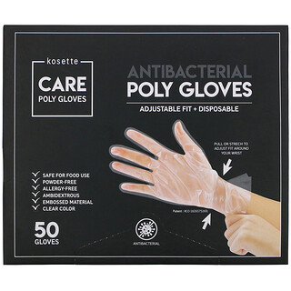 Kosette, Antibacterial Poly Gloves, Adjustable Fit + Disposable, 50 Gloves