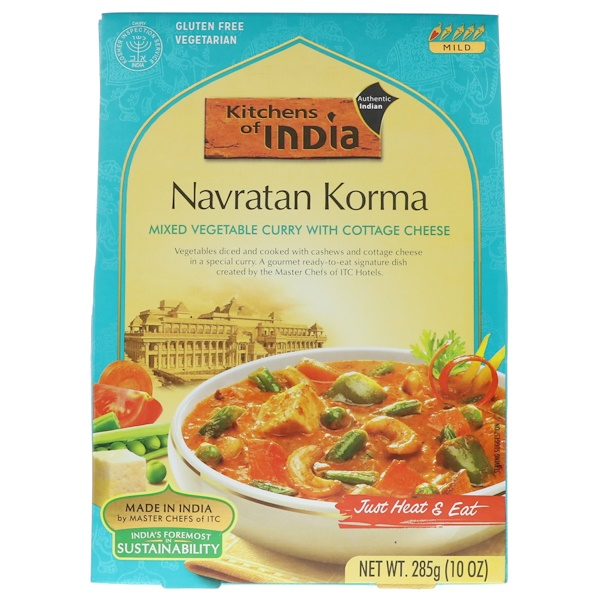 Kitchens of India, Navratan Korma, Mixed Vegetable Curry with Cottage Cheese, Mild, 10 oz (285 g) (Discontinued Item)